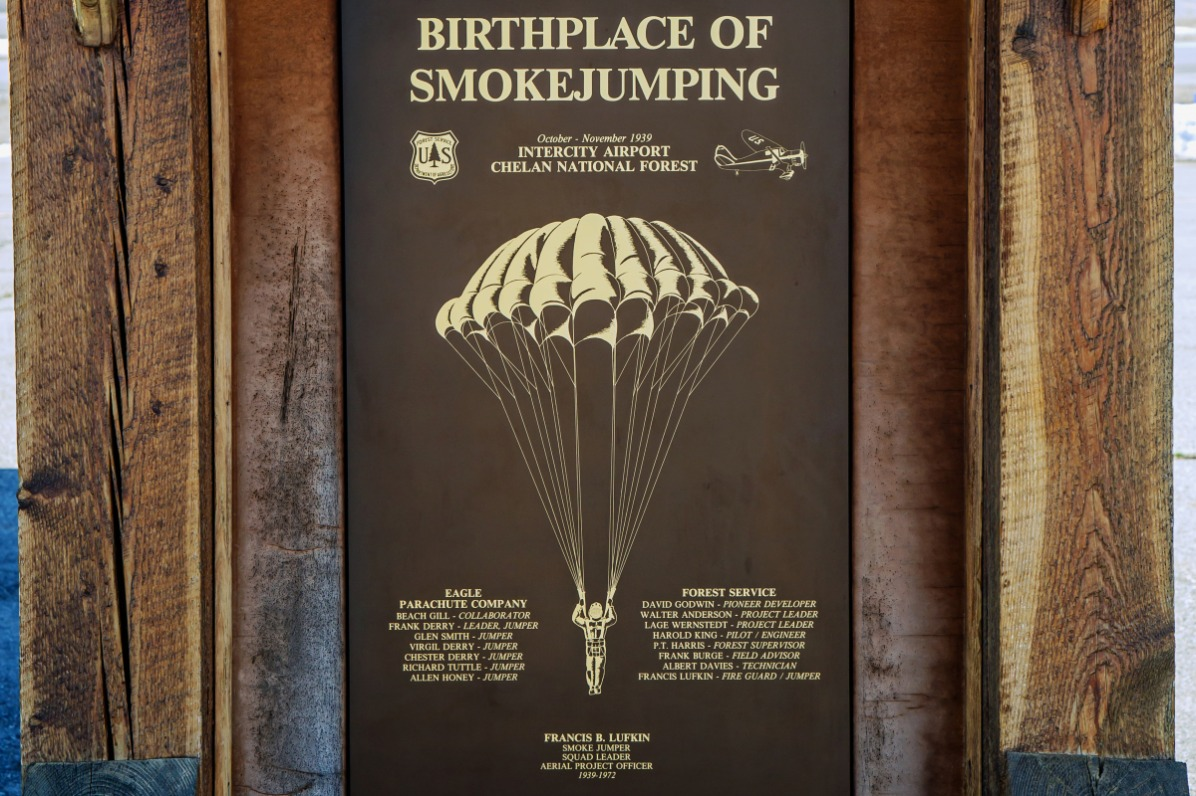 Birthplace of Smokejumpers sign at NCSB