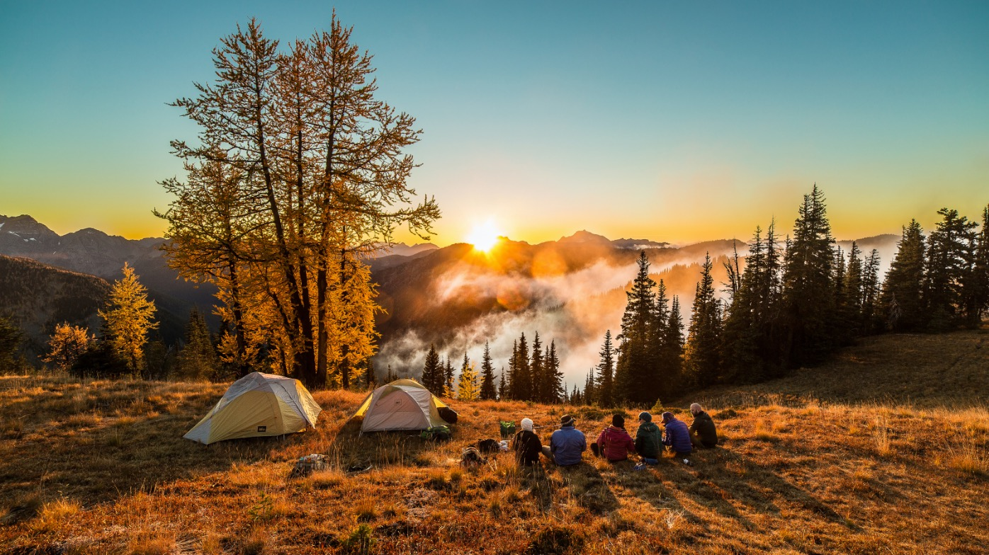 Camping sunset North Cascades
