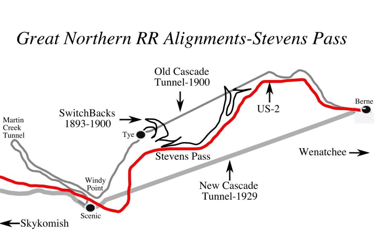 Map of Stevens Pass Switchbacks