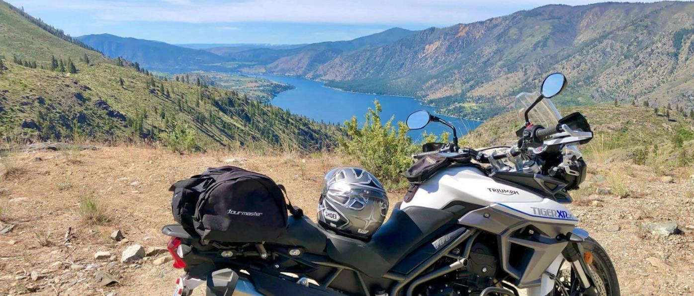 Overlooking Lake Chelan from Motorcycle